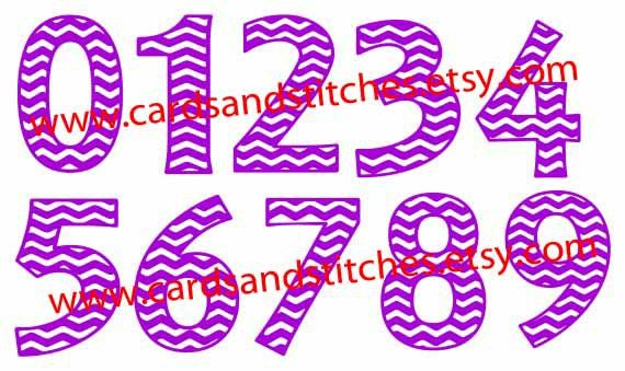 These Chevron Numbers Digital Cutting File will be great for making banners, birthday cake toppers and much more. | SVG | vector file | clipart | JPG
