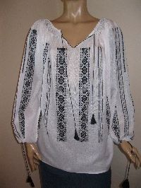 Hand made Romanian peasant blouse size XL / XXL - black pattern - 99 $ at www.greatblouses.com