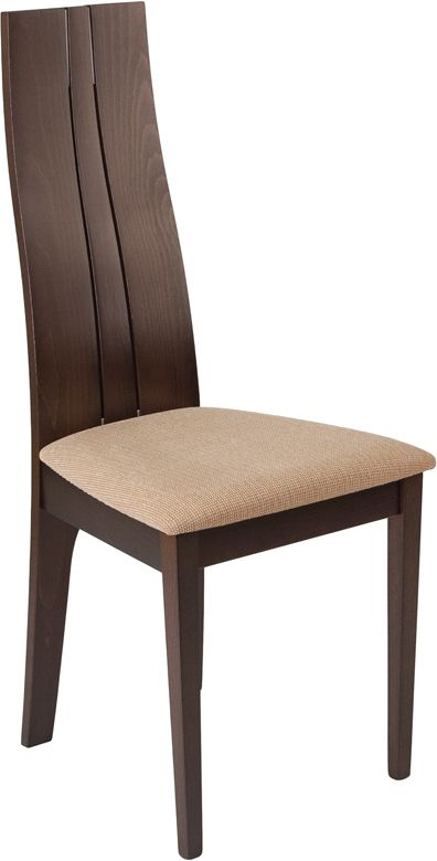 Essex Espresso Finish Wood Dining Chair with Brown Fabric Seat---Furnish your formal or informal dining room with this elegantly designed chair. Chair features a curved, double slit open designer back with silver accents...