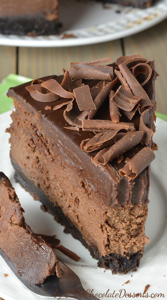Triple Chocolate Cheesecake with Oreo Crust - OMG Chocolate Desserts