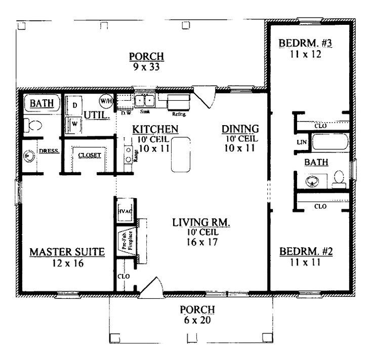 Small 3 Bedroom Open Floor Plan: 3 Bedroom Ranch Floor Plans