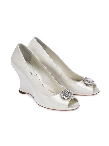 Helen silk peep toe wedge shoes