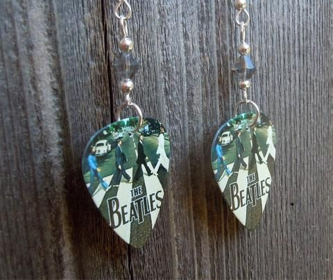 The Beatles Abbey Road Guitar Pick Earrings with Gray Swarovski Crystals