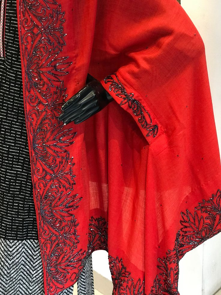 Red Pure Wool Cape With Hand Cut Daana Work, Pure Wool Poncho,  Red Embroidered Stole, Hand Work, Red Cape Poncho, Woman embroidered Shawl by AngadCreations on Etsy #Red #pure #wool #cape #with #hand #cut #daana #work #designer #shawl #woman #wrap #girl #scarf #indian #party #wear