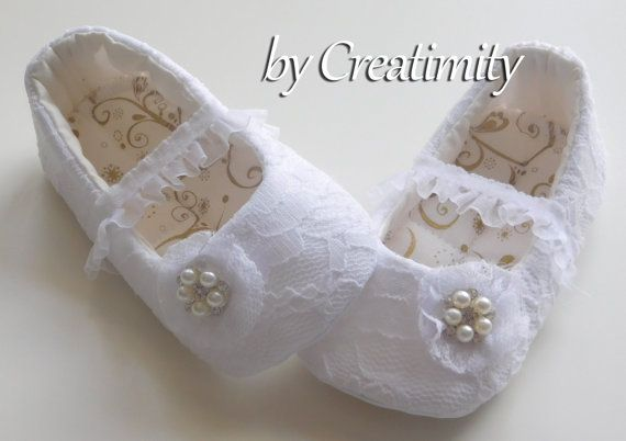 White baby shoes lace flower girl shoes christening shoes