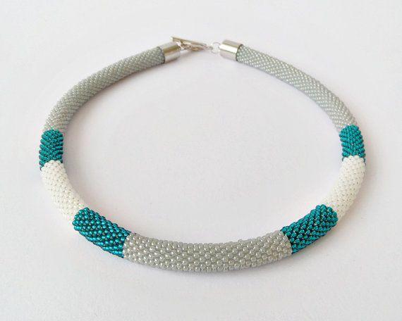 Bead crochet necklace, statement necklace, beadwork necklace, bead crochet rope, color block necklace, minimalist necklace, modern jewelry