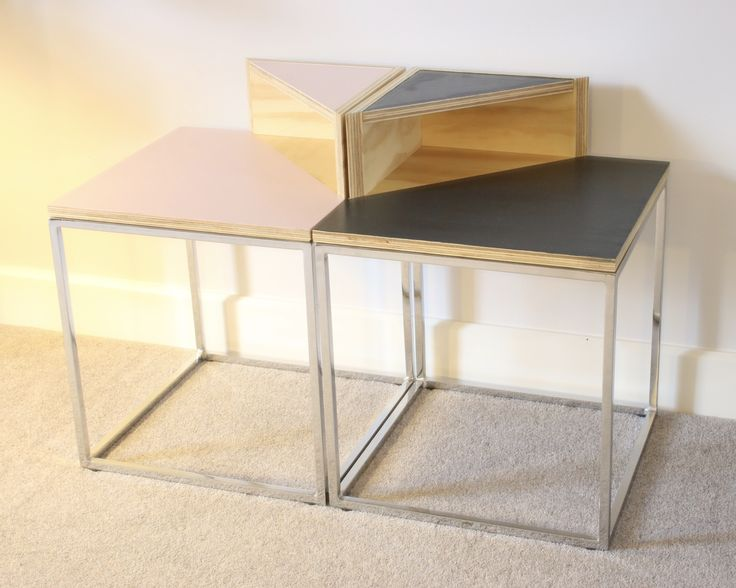 Plywood furniture: side tables £135 rose quartz and grey by www.janehandforddesign.com