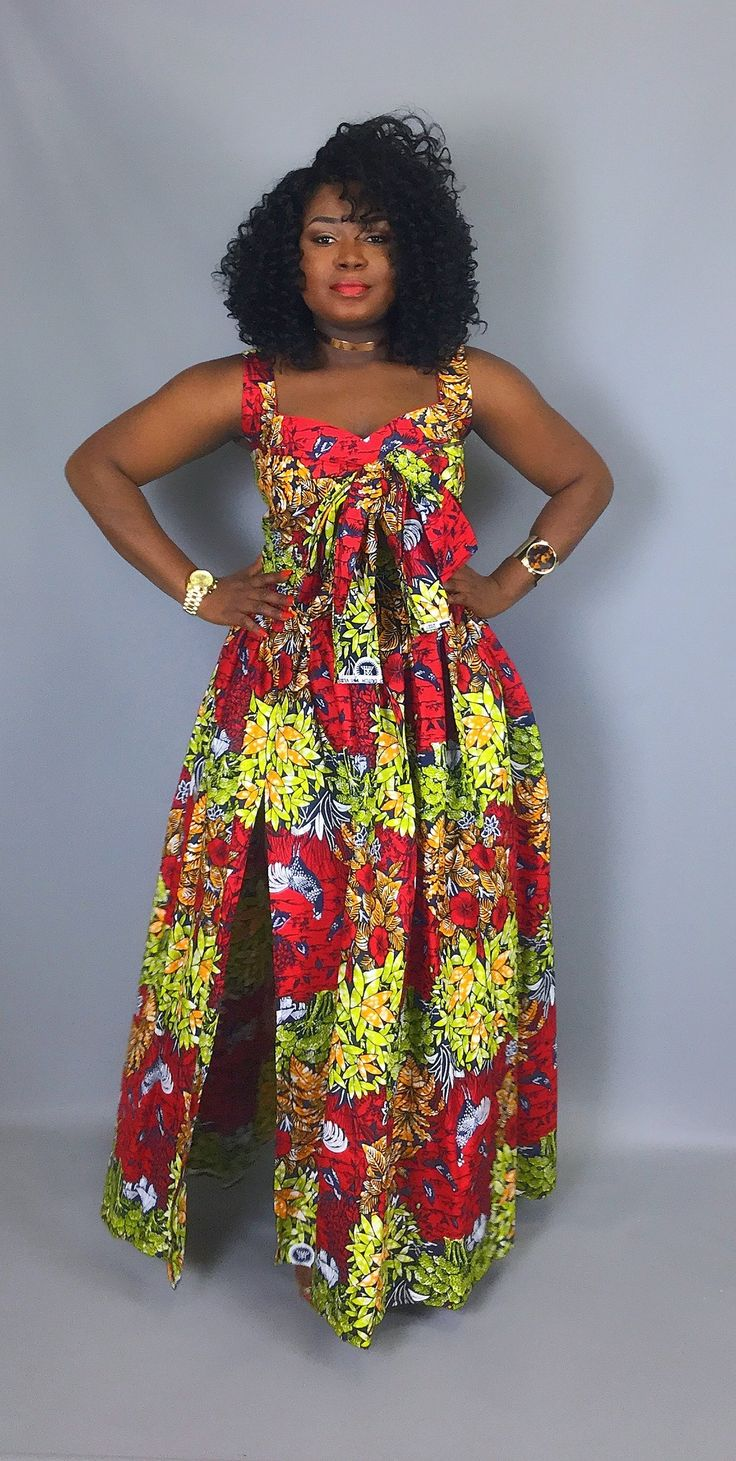 29d8c07658 African print crop top with front bow and maxi skirt set,African clothing,  African