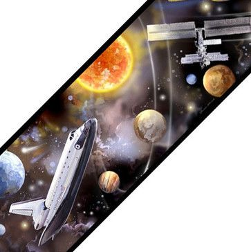 Outer Space Shuttle Travel Set of 4 Self-Stick Wall Borders contemporary-wall-decals