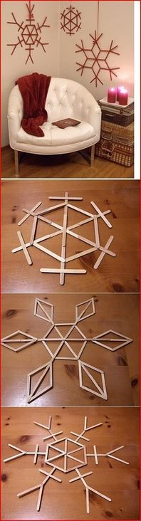 Popsicle Stick Snowflakes - great winter craft for tween classroom