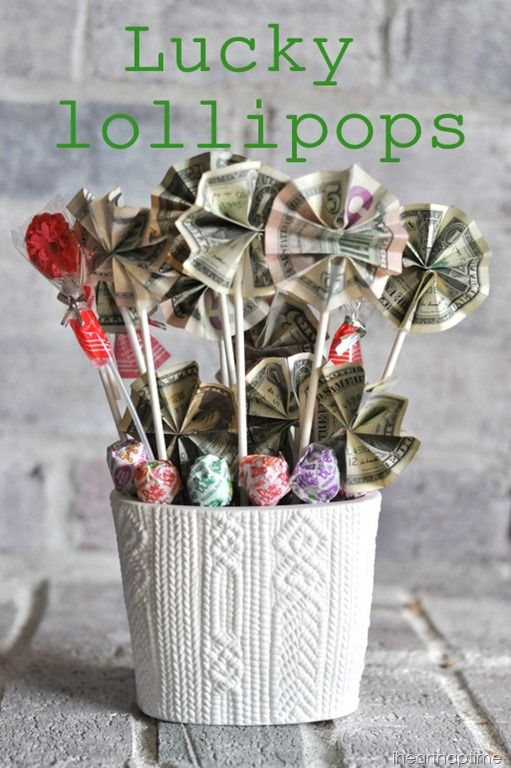 "For a child, you could place the ""plant'"" in a sand bucket…and fill it with beach toys; maybe for a teen boy you could use a basket filled with golf balls; or for Mother's day you could place the lollipops in a real plant."