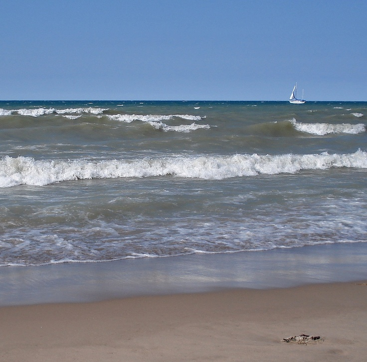 Choppy water but beautiful! Lake Huron, Sarnia, Ontario -- the view from the beach just across the street corner from our 1st house.