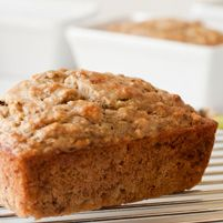 Banana Bread - Dr. Weil's Healthy Kitchen: 3 very ripe bananas, 1/2C honey, 3T canola oil, plus a little to oil the loaf pan, 1 1/2C whole-wheat pastry flour, 1 1/2t baking soda, 1/4t salt, 3/4c chopped walnuts or pecans