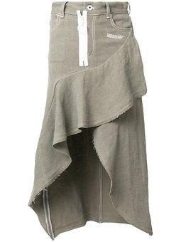 асимметричная юбка с оборкой