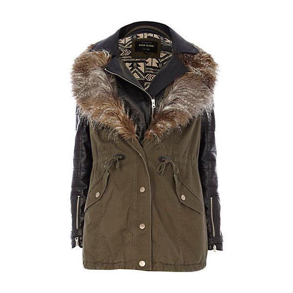 Parka en simili cuir kaki 2 en 1 (785 ARS) ❤ liked on Polyvore featuring outerwear, coats, jackets, coats & jackets, vestes, biker coat, parka coat, brown coat and brown parka