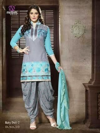 Beautifully Designed Twin colored Patiyala Dress in Cotton with awesome embroidery work done. Comes along with Grey matching finely embroidered Bottom and Sky Blue Duppatta.
