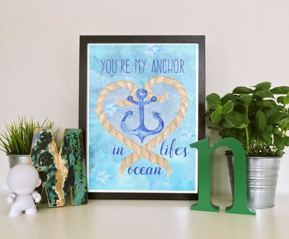 You Are My Anchor Quote. Blue Anchor Print. Love Signs. Printable Valentine Postcard. Nautical Print. Beach House Decor. Husband Valentine Card Print in 5x7, 8x10 inches, 105x150 mm. US$3.00 www.etsy.com/listing/511325959