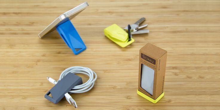 Stikey - a portable stand and cable tidy on your keys! April on Kickstarter! http://stikey.co.uk/