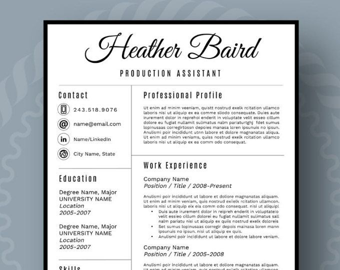 Bold and Modern Resume Template for Word, 1-3 Page Resume + Cover Letter + Reference Page | US Letter | INSTANT DOWNLOAD | Heather