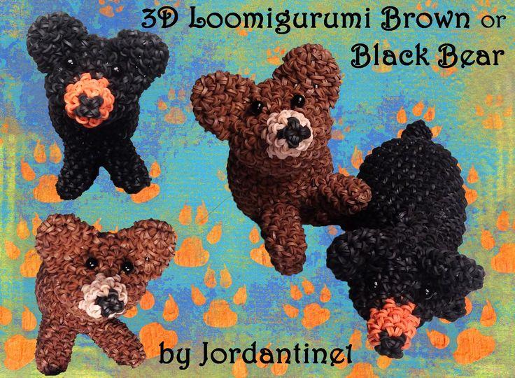 New Loomigurumi / Amigurumi Black / Brown Bear - Rubber Band Crochet - R...