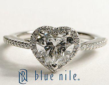 Heart Shaped Halo Diamond Engagement Ring in Platinum #BlueNile