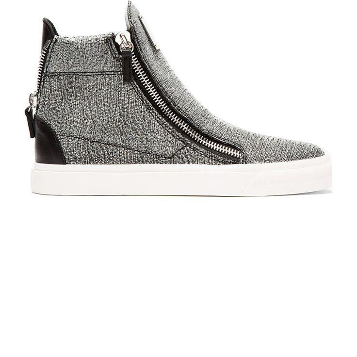 Giuseppe Zanotti Grey Sparkle Stingray Print High Top Sneakers