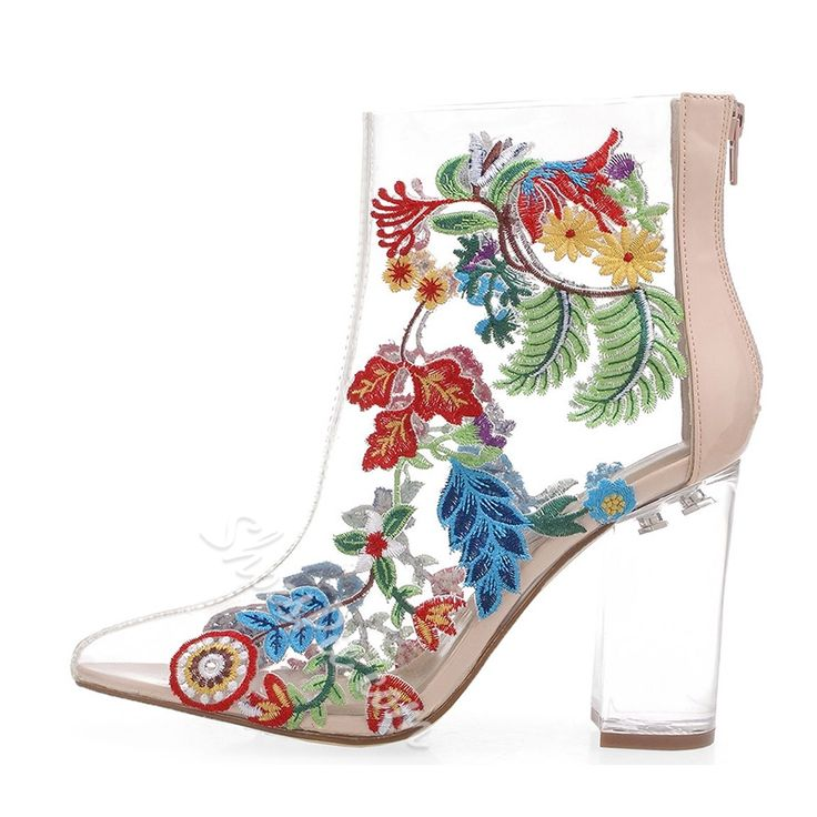 Shoespie Pointed Toe Floral Boots