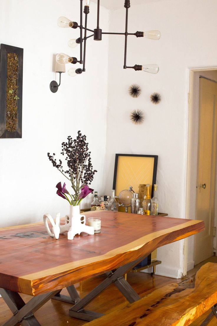 Brandons Bold And Bright Bachelor Pad House Tour Slab TableBachelor Pads Dining