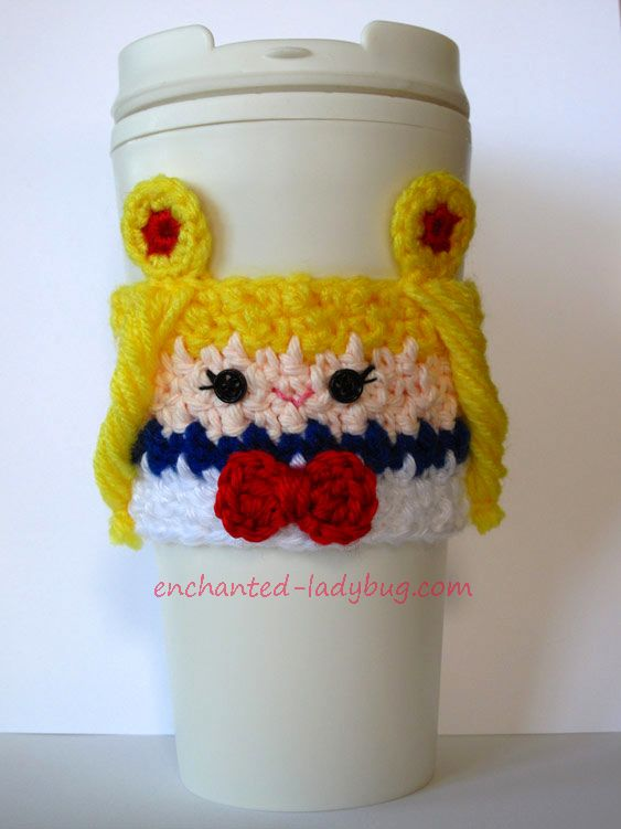 Free Crochet Sailor Moon coffee cup cozy pattern by The Enchanted Ladybug