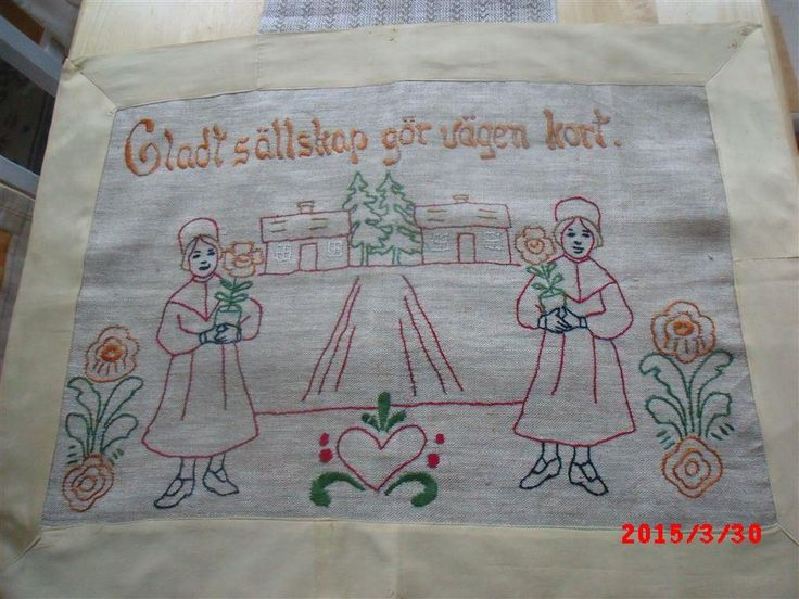 Väggbonad handbroderad, linne med bomullskant