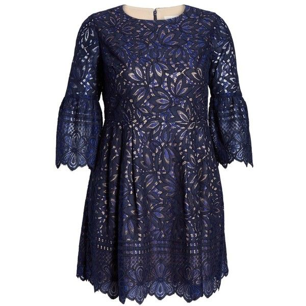 Plus Size Women's Eliza J Lace Bell Sleeve Fit & Flare Dress (2.407.985 IDR) ❤ liked on Polyvore featuring dresses, bell sleeve dress, plus size vintage style dresses, blue fit and flare dress, plus size bell sleeve dress and blue dress
