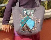 """borsa da spalla """"el gato azul"""" in tessuto da tappezzeria lilla"""