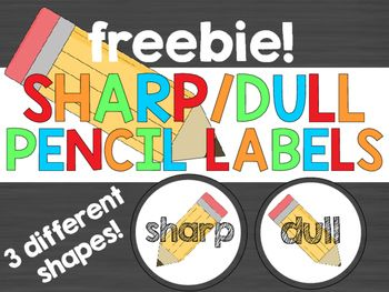 Sharp and Dull Pencil Labels for your classroom!3 different styles included:Circle sharp, dull (or not sharp) pencil labels-Square sharp, dull (or not sharp) pencil labels-Long rectangle sharp, dull (or not sharp) pencil labelsPrint which labels you like, laminate, cut, and use to organize pencils in buckets, bins, drawers, or whatever you choose!Enjoy!