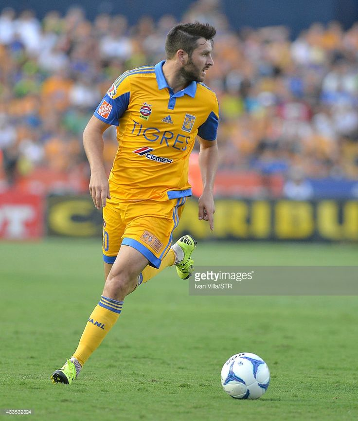 Andre Gignac of Tigres drives the ball during a 3rd round match between Tigres UANL and Chivas as part of the Apertura 2015 Liga MX at Jalisco Stadium on August 09, 2015 in Monterrey, Mexico.