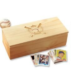 Wooden Baseball Card Storage Box - Baseball