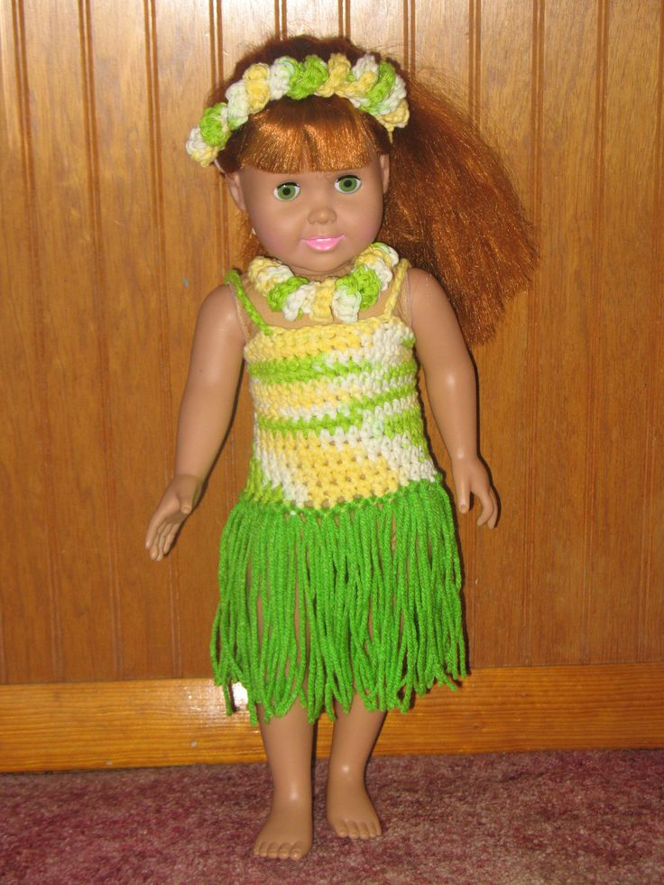 Crocheted American Girl Doll Hawiian Outfit