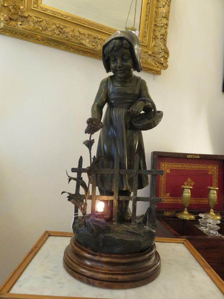 Grande Lampe Veilleuse  En Régule de A.de Ranieri (1880-1914 ) , Au Chevalier Bayard, Proantic