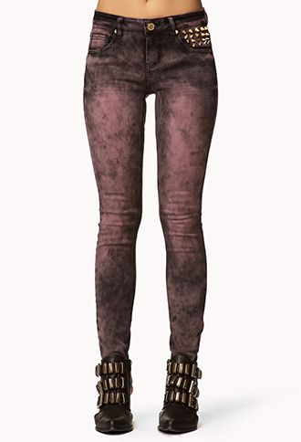Spiked Acid Wash Skinny Jeans