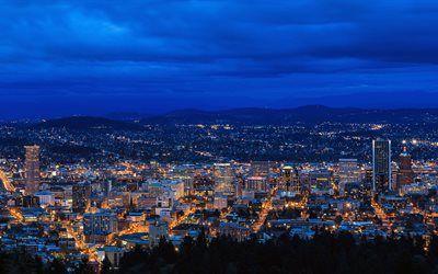 壁紙をダウンロードする 灯り, ポートランド, 夜, オレゴン州, 都市, キヤノン, eos