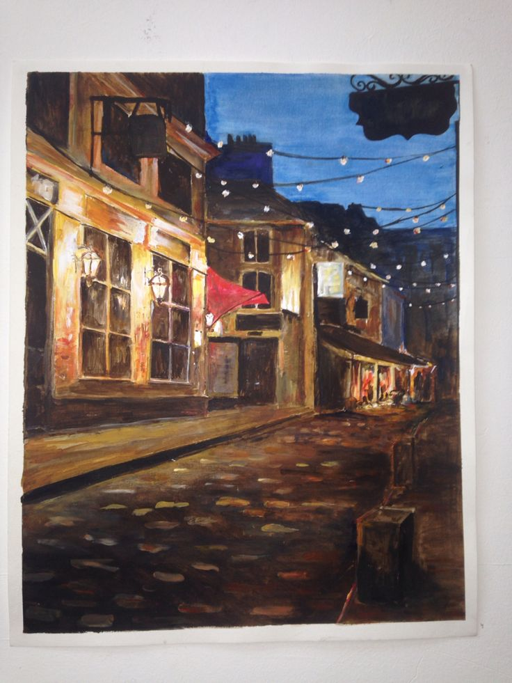 A2 acrylic painting   Glasgow west end ally