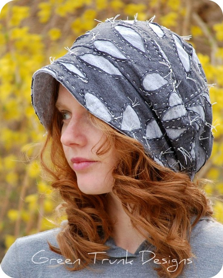 Recycled T-shirt Slouch Hat with Reverse-Appliqué Alabama Chanin style