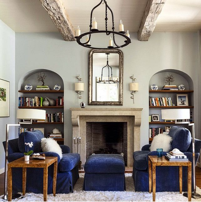 Bookshelves On Both Sides Of Fireplace Living Room With