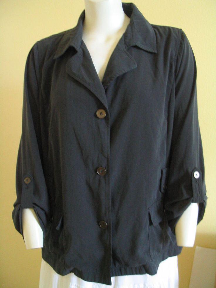 DANA BUCHMAN Sz XL Shirt Top Button Down Roll Up Sleeves Black  #DanaBuchman #ButtonDownShirt #Casual