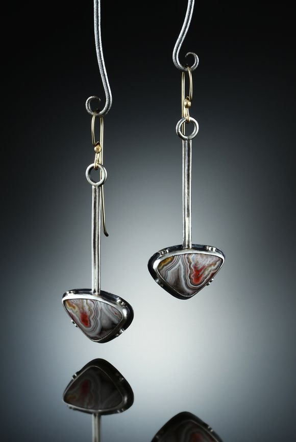 Crazy Lace Agate Earrings. Fabricated Sterling Silver and 14k. www.amybuettner.com https://www.facebook.com/pages/Metalsmiths-Amy-Buettner-Tucker-Glasow/101876779907812?ref=hl https://www.etsy.com/people/amybuettner http://instagram.com/amybuettnertuckerglasow