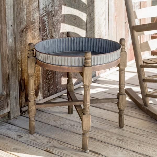 Farmhouse End Table with Metal Top