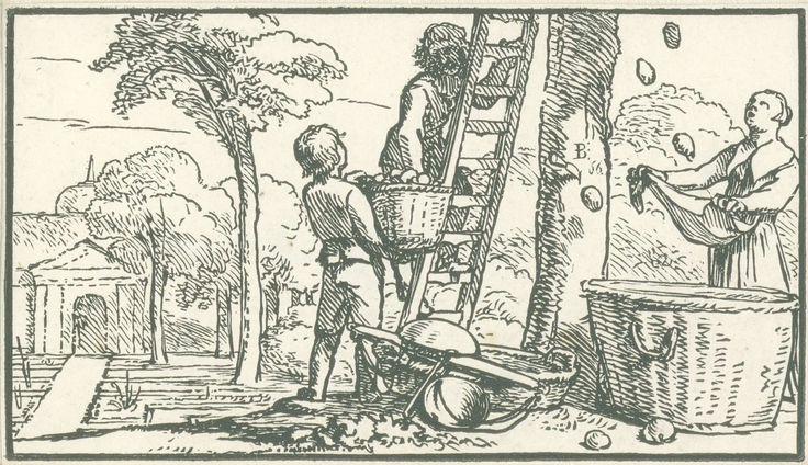 Dirck de Bray | September, Dirck de Bray, 1635 - 1694 | Een man staat op een ladder tegen een boom. Een tweede man houdt een mand met vruchten voor hem omhoog. Rechts vangt een vrouw met haar schort vruchten uit de boom. Tegen de ladder ligt een weegschaal.