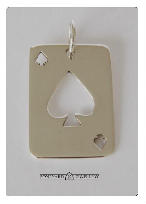 Sterling Silver Ace of Spades Poker Card Pendant.  http://www.boneyardjewellery.co.uk/store/products/ace-of-spades-poker-card-pendant/