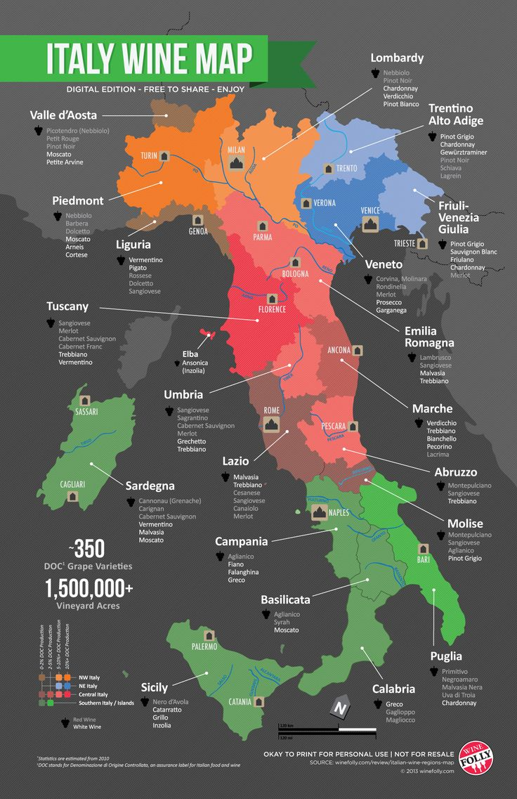"""Italian Wine Regions Map,"" by Wine Folly -- ""...wine regions and which ones to try first when delving into Italian wines."""