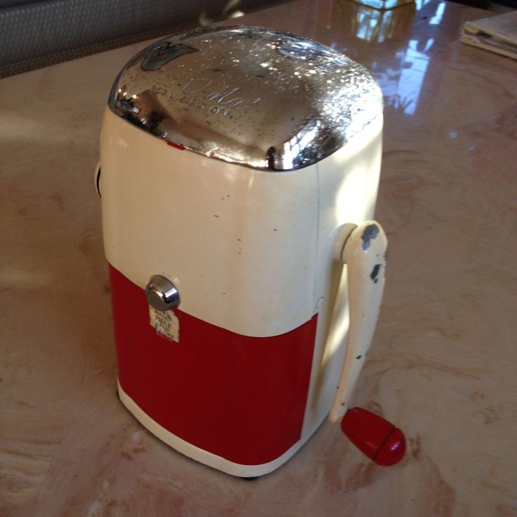 Vintage Rival Ice-O-Mat Ice Crusher Grinder with Handle Vogue Model Red and White Mid Century Retro Small Kitchen Appliance Cat. No. 455 USA by littlejoesattic on Etsy