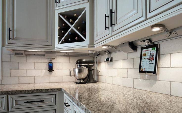 Kitchen under-cabinet lighting & power system. iPad & iPhone docks. LED lighting. No outlets in your backsplash.